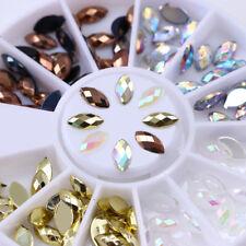 120Pcs Gem Cutting Marquise 3D Nail Rhinestones Decor Flat Bottom Resin Manicure
