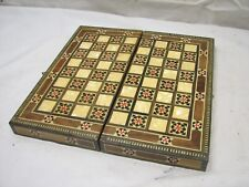 Wooden Inlay Marquetry Inlaid Wood Chess Checker Board Travel Game Backgammon