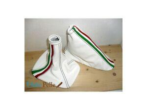 Schaltsack und Bremse Alfa Romeo Mito Leder Weiß und Tricolor