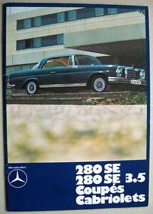 Prospekt Mercedes 280 SE & 3.5 W111 Coupe Cabriolet MJ 1969 1970 ITALIENISCH CH