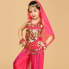 Kids Girls Belly Dance Costume Sequins Top Sequins Pants 3 Colors 4 Sizes