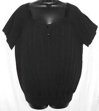 Attention Ladies Sweater Size L NWOT Black Pleated Cotton Blend Short Sleeves