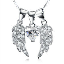 925 Sterling Silver White CZ Heart Crystal Angel Wings Pendant Necklaces Jewelry