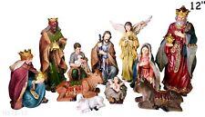 Nativity Set - 11 Nativity Figurines - Baby Jesus, Mary, Joseph,Shepherd 12 Inch