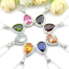 Teardrop 8pcs Lots Mixed Citrine Garnet Topaz Peridot Silver Necklace Pendants