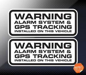 Warning Alarm System & GPS Tracker Fitted stickers X 2