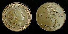 Netherlands - Juliana 5 Cent 1970 Prachtig+ deels originele muntkleur