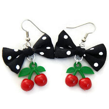 Black Polka Dot Bow and Cherry Earrings, Rockabilly, Retro, Surgical Steel Hook
