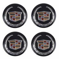 SET 4 BLACK Wheel Emblem Center Hub Cap Cadillac 66MM Silver Crest ATS CTS XTS