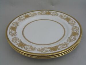 """THREE AYNSLEY IMPERIAL GOLD 10 1/2"""" DINNER PLATES."""