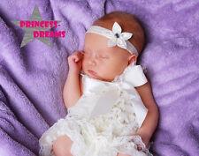 Fascia per capelli ragazza con molla Fiore FIORITURA frontale Nastro Baby Battesimo Comunione Matrimonio
