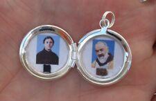 St Gemma Galgani / St Padre Pio combination relic locket -Very nice!