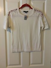 Ann Taylor - Misses PET. SMALL Winter White Ceam Short Sleeve Sweater $69.50 NWT