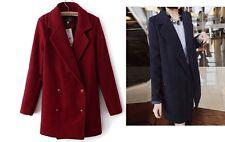 Women Boyfriend Style Coat Turndown Collar Jacket Casual Classic Coat S/M/L/XL