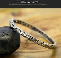 Bracelet Pure 100% 925 Sterling Silver Vintage Handmade Pattern Bohemian Cuff UK