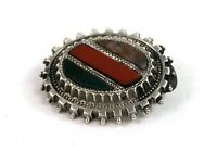 Antique Victorian Scottish Sterling Silver Agate Pebble Brooch c.1890