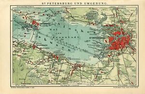 1911 RUSSIA ST.PETERSBURG CITY and SUBURB PETERGOF KRONSTADT Antique Map dated