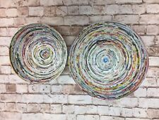Lot Of 2 Large And Medium Decorative Bowl Using Recycled Magazine Paper New