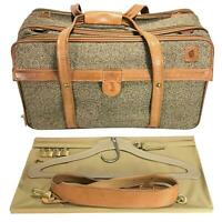 HARTMANN LUGGAGE Tweed OVER SUIT-O-MATIC Belting Leather Trim Carry On Bag