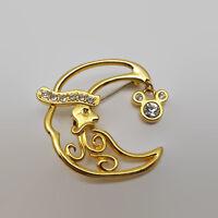 Disney Santa Moon Gold Tone Rhinestone Brooch Pin