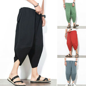 Japanese Style Harem Pants Mens Unique Loose Trousers Casual Summer Baggy Slim