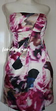 New KAREN MILLEN Silk  £175 Rose Floral Print Corset Strapless Party Dress Sz 12
