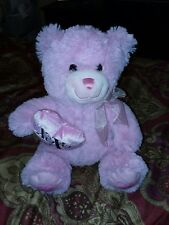 Pink Valentine's Day Stuffed Teddy Bear with heart pillow