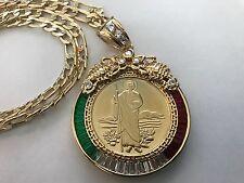 Centenario de San Judas y La Virgen De Guadalupe Oro Laminado Medalla y Cadena