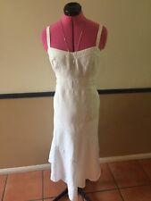 COUNTRY ROAD - Crisp White Linen Maxi Dress  - Size 8