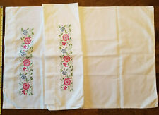 Pair of Vintage Hand Embroidered White Pillowcases Flowers Foliage Crocheted