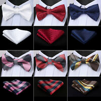 Men Formal Plaids Pre-tied Bowtie Bow Tie Handkerchief Wedding Pocket Square Set