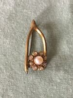 Antique Victorian Wishbone Brooch 1900s 1910s paste glass stones faux pearl