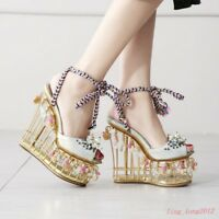 Sexy Womens Sandals Floral Birdcage Platform Super High Heels Pumps Runway Shoes