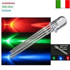 25 diodi led 5 mm RGB MULTICOLOR catodo comune con 25 resistenze 560 ohm omaggio