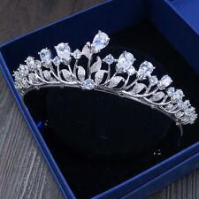 Luxury All CZ Cubic Zirconia Drip Leaf Wedding Party Pageant Prom Tiara Crown
