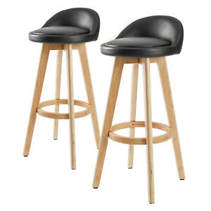 2 x Oak Wood Bar Stool Wooden Barstool Dining Chair Kitchen Leather LEILA BLACK