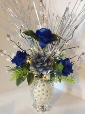 Artificial Flowers Blue & Silver Roses In Silver Sparkle Vase Lights Up