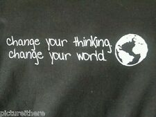 T-Shirt Peaceful Messag Change Your Thinking Change World Black Gray Made in USA