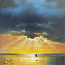 "Original painting beach sky sea sunset by BEN PAYNE Art 6""×6"" oil on panel + COA"