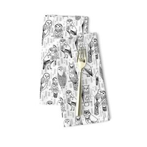 Owl Black And White Bird Nursery A322 Cotton Dinner Napkins by Roostery Set of 2