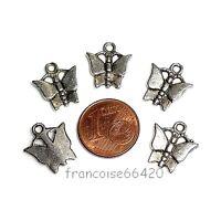 10 Breloques /_ PLUME argentée 29X5mm /_ Perles charms création bijoux fant /_ B047