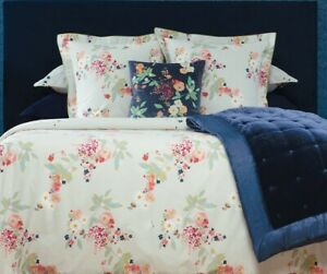 Yves Delorme Boudoir Queen Fitted Sheet Beige Blue Floral Cotton Percale NWT NEW