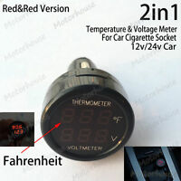 Digital Voltmeter Thermometer 12V 24V Auto Car Battery Cigarette Lighter Socket