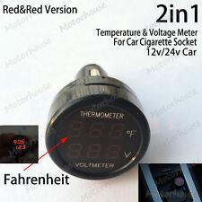 2in1 Digital Voltmeter Thermometer 12v 24v Auto Car Battery Cigarette Lighter