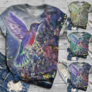 ✅Women Short Sleeve 3D Bird Printed O-Neck Tops T-Shirt Blouse Summer Basic Tees