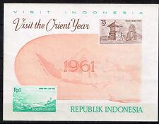Indonesia Architecture Map Souvenir Sheet 1961 MNH