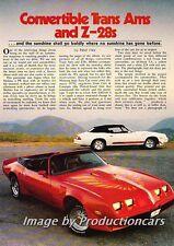 1979 Chevrolet Camaro Pontiac Firebird Convertle Car Review Print Article J748