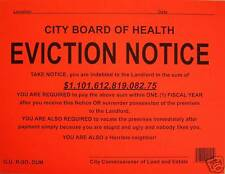 2 EVICTION NOTICES...( Large Commercial )... Novelty Sign