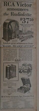 """1931 newspaper ad - RCA Victor """"Radiolette"""" with Radiotrons, """"Superette"""" radios"""