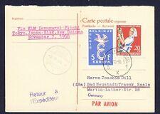 45685) KLM Polar FF Tokio - Biak 7.11.58, reply card AK ab BRD